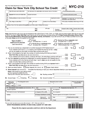 Nyc 210 Form 2010 - Fill Online, Printable, Fillable, Blank ...