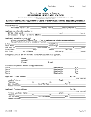 fillable residential lease application for texas fillable