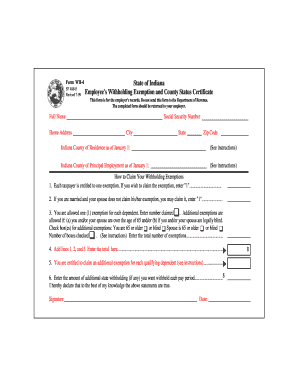 W 4 Form Indiana 2012 - Fill Online, Printable, Fillable, Blank ...