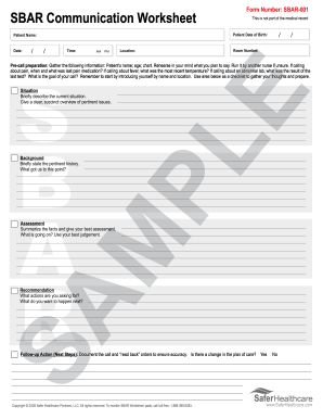 example of filled sbar form fill online printable fillable