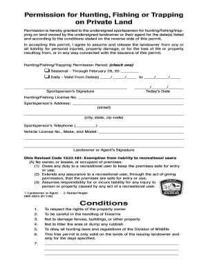 hunting permission liability release form car interior design