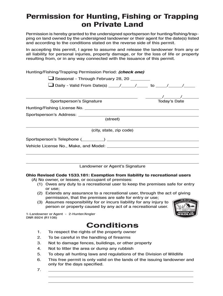 Ohio Hunting Permission Slip - Fill Online, Printable