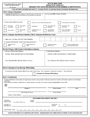 City Of New York Substitute Form W 9 Fillable - Fill Online ...
