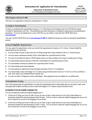 2013-2017 Form USCIS N-400 Instructions Fill Online, Printable ...
