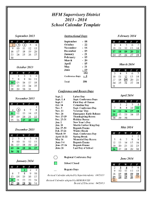 2014 School Calendar Template - HFM BOCES