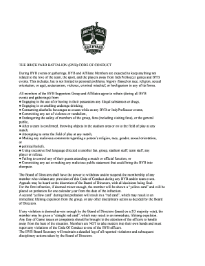 THE BRICKYARD BATTALION (BYB) CODE OF CONDUCT During ...