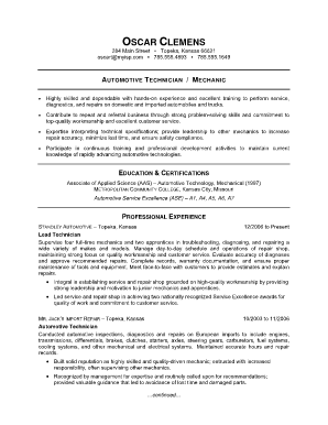 mechanic resume template fill printable