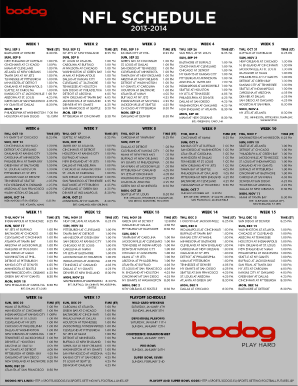 Fillable online 2013 2014 nfl schedule bodog fax email print pdffiller - Steelers schedule 2014 printable ...