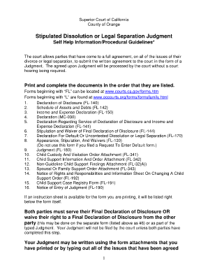 Fillable Online occourts L1137-Help Sheet Stipulated Dissolution ...