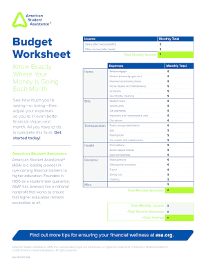 Budget Worksheet - American Student Assistance - asa