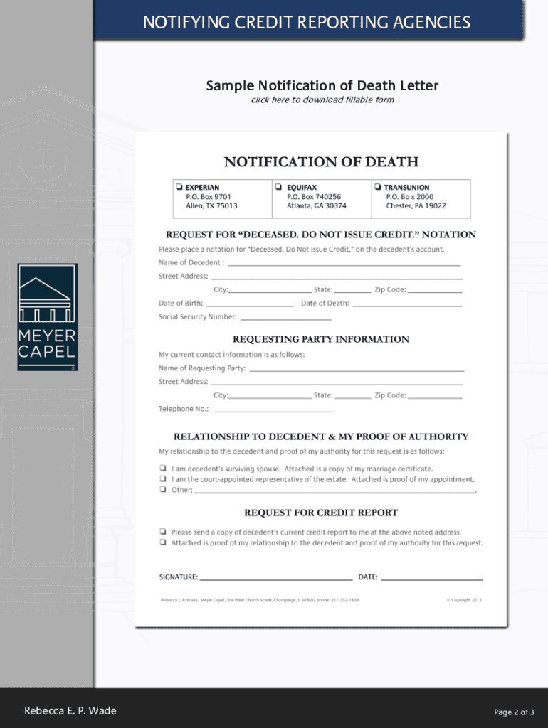 Sample Notification Of Death Letter To Credit Reporting