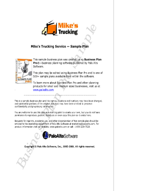 mikes trucking business plan sample form