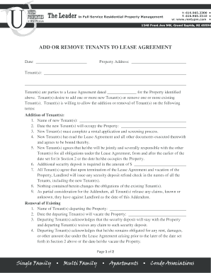 tanent addrremove amendment form - Tenant Lease Form