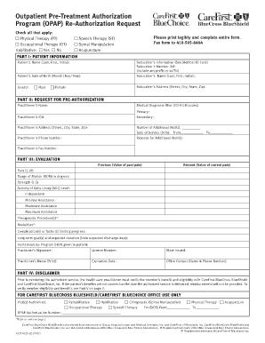 Fillable Online Outpatient Pre-Treatment Authorization Program ...