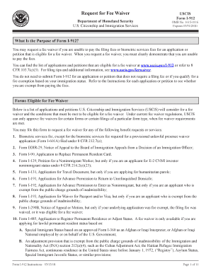 2013 Form USCIS I-912 Instructions Fill Online, Printable ...