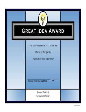 Fillable online great idea award govleaders free award fill online yadclub Image collections