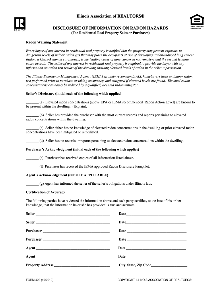 free 22.1 disclosure form  Radon Disclosure Form - Fill Online, Printable, Fillable ...
