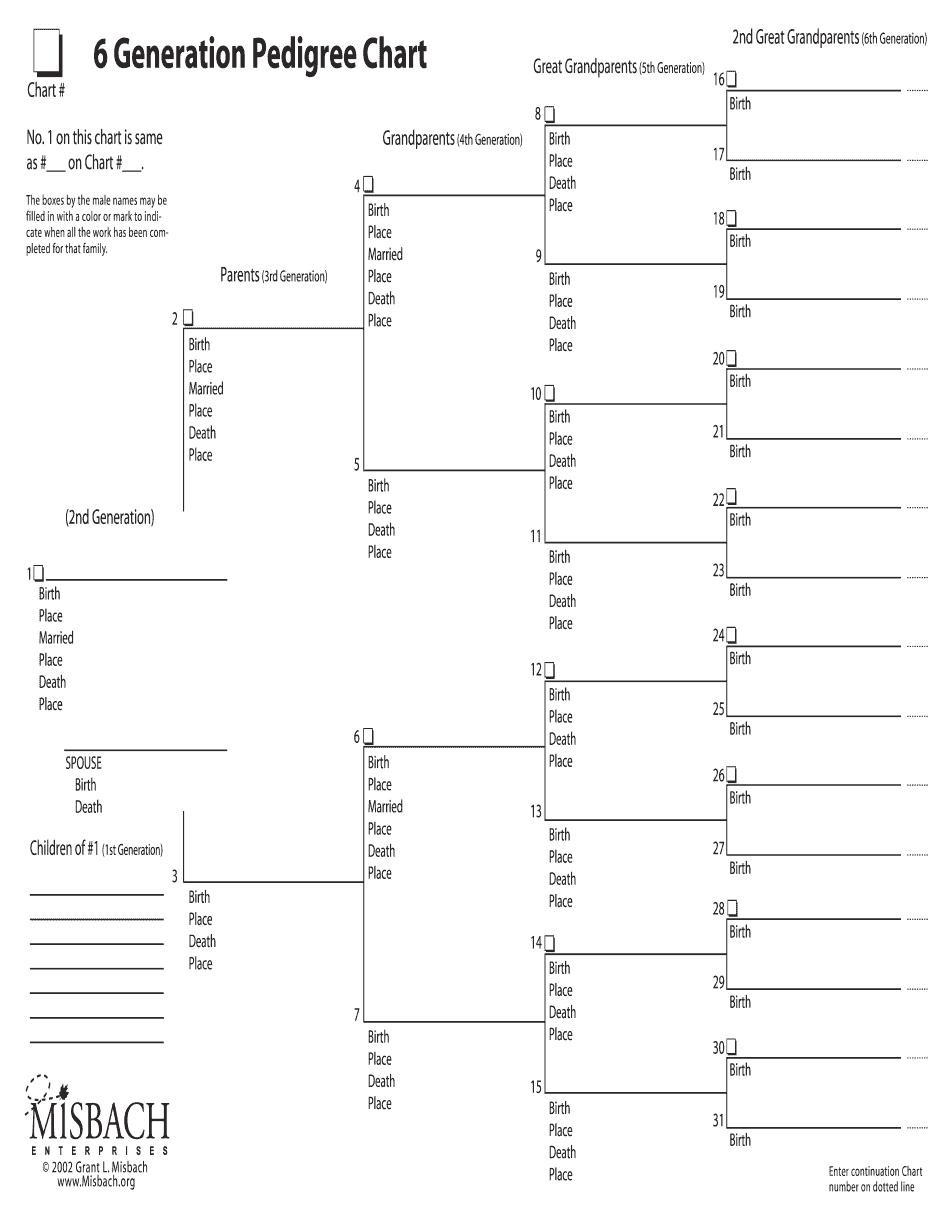 Misbach 6 Generation Pedigree Chart 0 Form