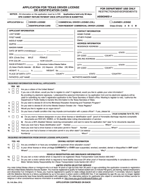 Texas Driver License Application - Fill Online, Printable ...