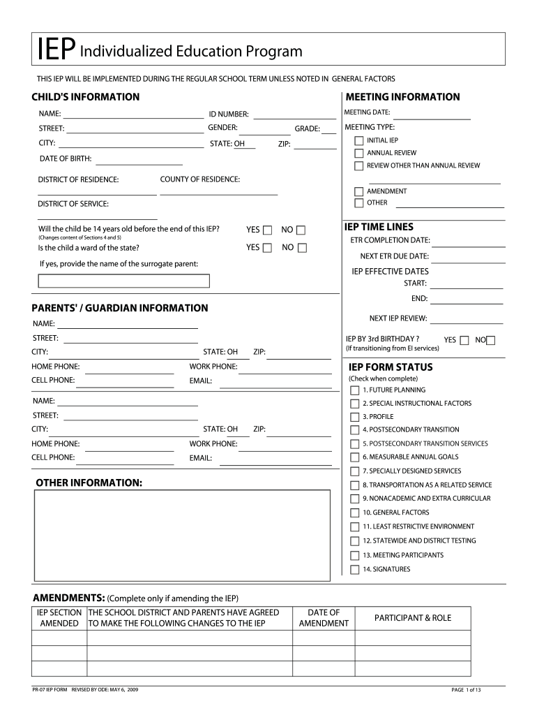 Individualized Education Programs Ieps For Parents Kidshealth >> 2009 Form Oh Pr 07 Iep Fill Online Printable Fillable