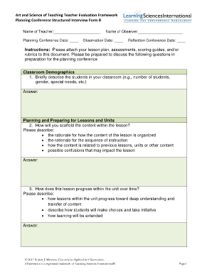 Teacher Evaluation Form Samples And Examples