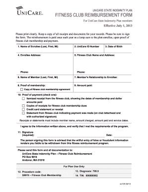 Unicare Fitness Form Reimbursement - Fill Online, Printable ...