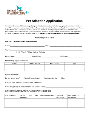 Amazing image with pet adoption forms printable