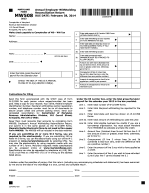2013 Form MD Comptroller MW508 Fill Online, Printable, Fillable ...