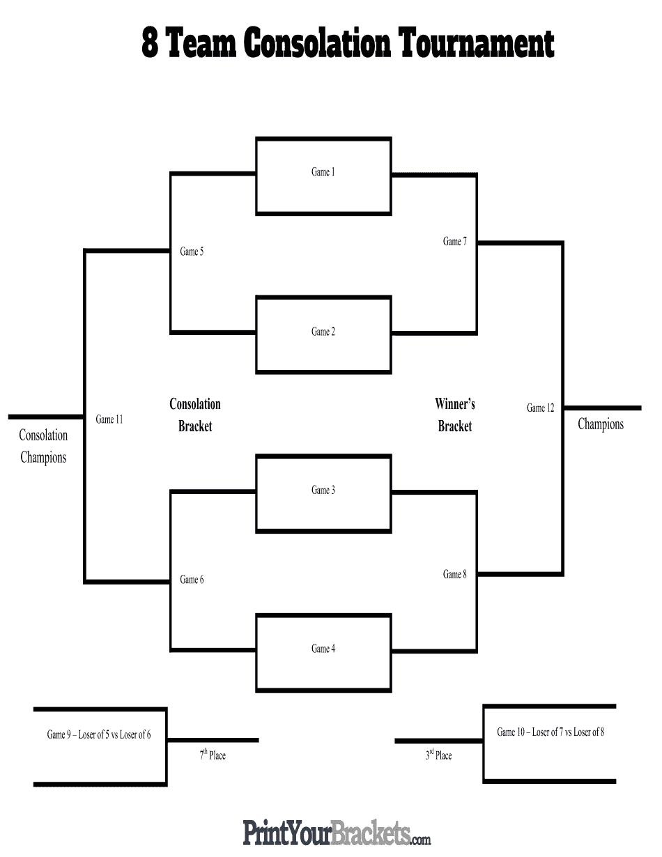 8 Team Consolation Tournament Bracket - Edit Online, Print