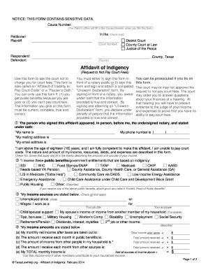 Texas Affidavit Indigency - Fill Online, Printable, Fillable ...