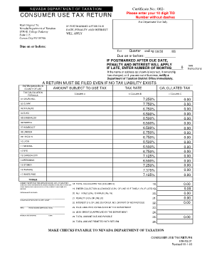 Consumer Use Tax Return Nevada 2014