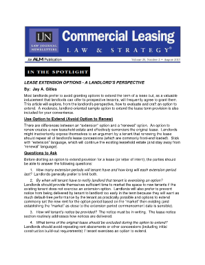 LEASE EXTENSION OPTIONS - A LANDLORD'S PERSPECTIVE By ...