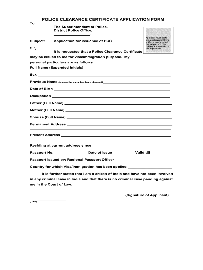 Police Clearance Certificate Application Form - Fill Online
