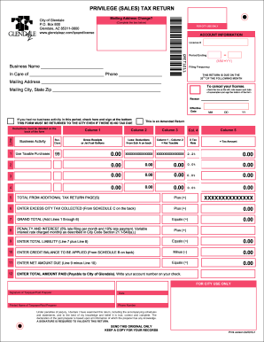 glendale privilege sales tax return form gret1011