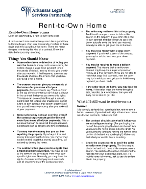 Fact Sheet - Rent-to-Own Home (PDF) - Arkansas Legal Services ... - arlegalservices