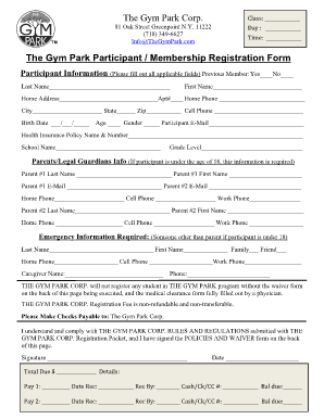 Gym Admission Form - Fill Online, Printable, Fillable, Blank ...