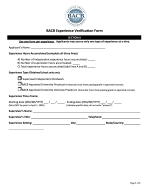 Bacb Experience Verification Form Example - Fill Online, Printable ...