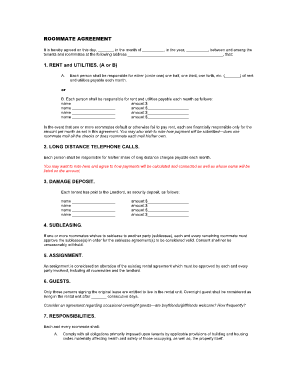 Fillable Online icgov sample roommate agreement.doc ...