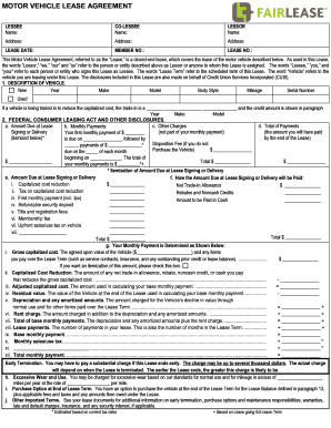 Leased Vehicle Model Agreement Forms And Templates
