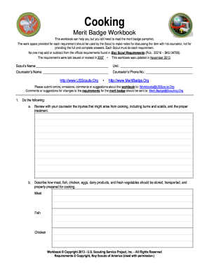 Printables Bsa Merit Badge Worksheets cooking badge form fill online printable fillable blank pdffiller preview of sample merit workbook