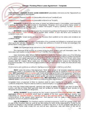 M.A.D. Garage Lease Agreement Template