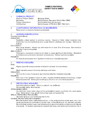 A sample material safety data sheet - National Biodiesel Board - biodiesel