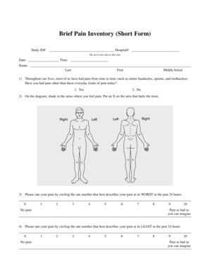Fillable Online Brief Pain Inventory (Short Form) - Partners Against ...