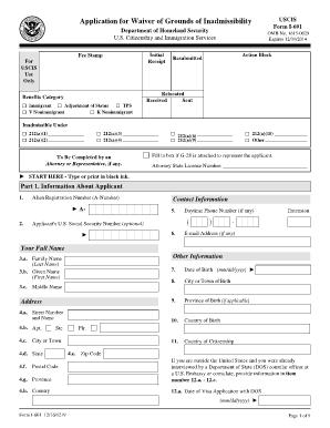 Form I 601 - Fill Online, Printable, Fillable, Blank | PDFfiller