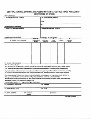 dominican republic certificate of origin - Certificate Of Origin Template