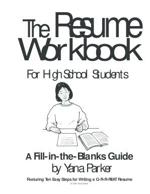 the resume workbook for high school students yana parker form