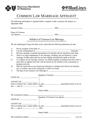 Common Marriage Affidavit  Blank Affidavit