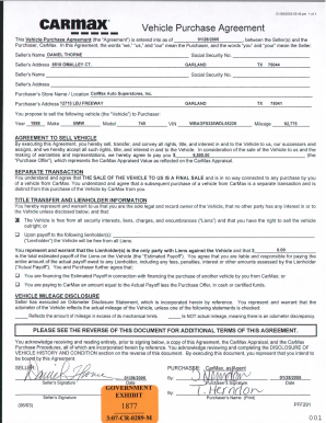 Printable Vehicle Purchase Agreement