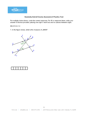 geometry end of course assessment practice test form
