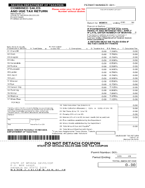 Fillable Online PERMIT NUMBER: 001- NEVADA DEPARTMENT OF TAXATION ...